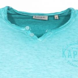 Tee-shirt col tunisien Kaporal vert d'eau effet délavé