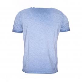 Tee-shirt col tunisien Kaporal bleu jean effet délavé