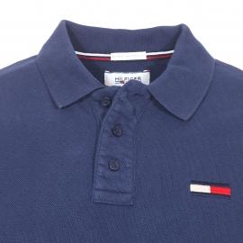 Polo Hilfiger denim en maille piquée bleu marine brodé du logo