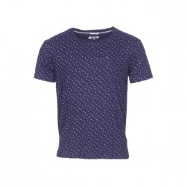 Tee-shirt col rond Hilfiger denim en jersey de coton bleu indigo foncé à imprimés blancs