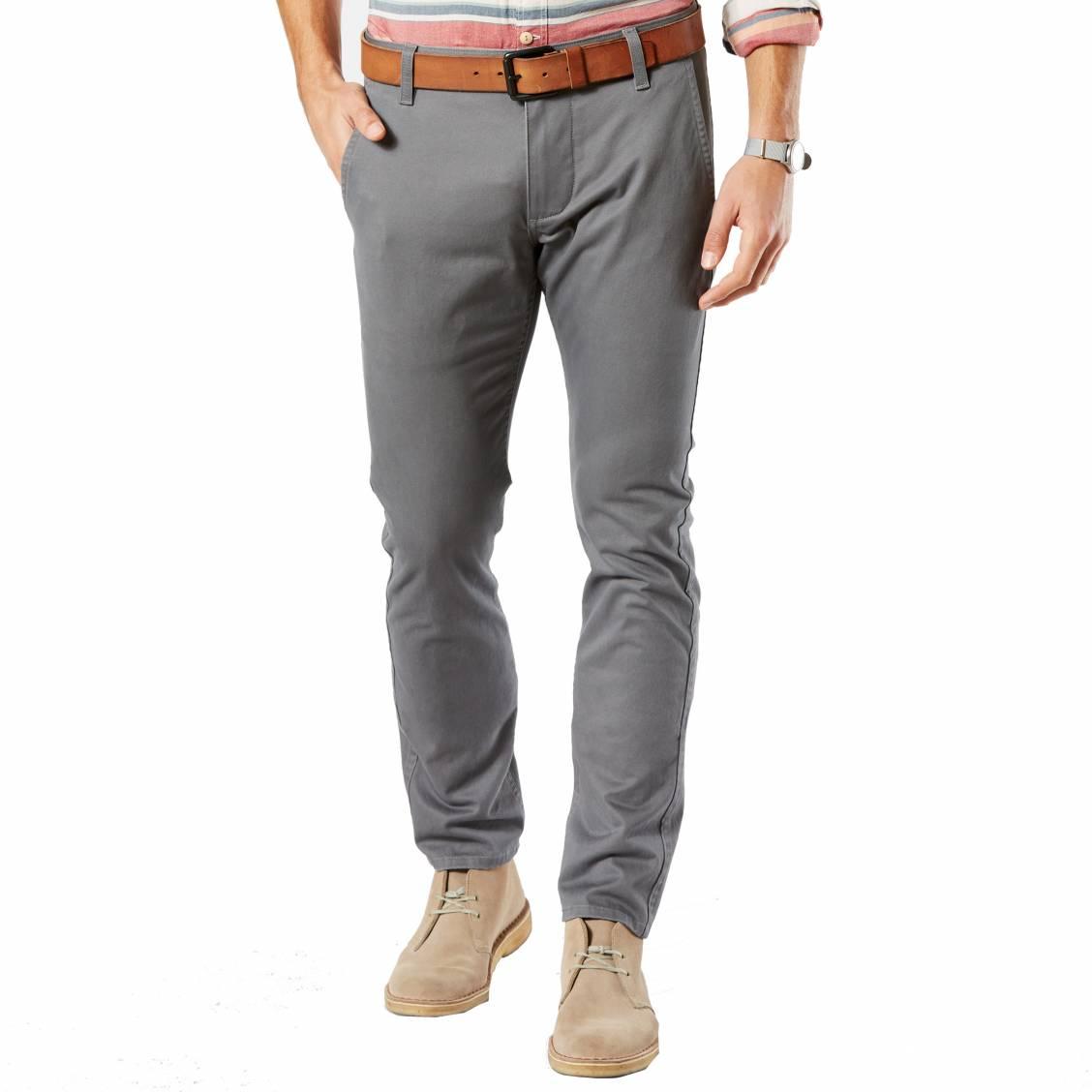 Pantalon alpha stretch khaki original skinny tapered  en sergé de coton gris