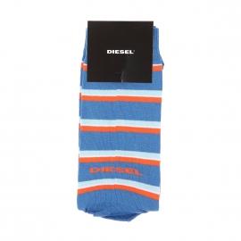 Chaussettes Diesel bleu azur à rayures bleu ciel et oranges