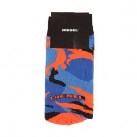 Chaussettes Diesel à motifs camouflages bleu azur, bleu indigo, noirs et orange
