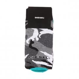 Chaussettes Diesel à motifs camouflages blancs, gris, anthracite et noires à talons et pointes vert menthol