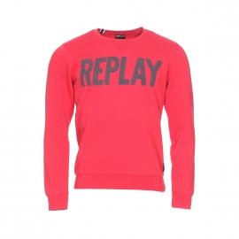 Sweat col rond Replay molletonné rouge imprimé Replay en gris