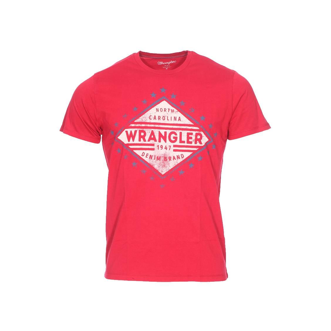 Tee-shirt col rond  americana rouge à imprimé patiné