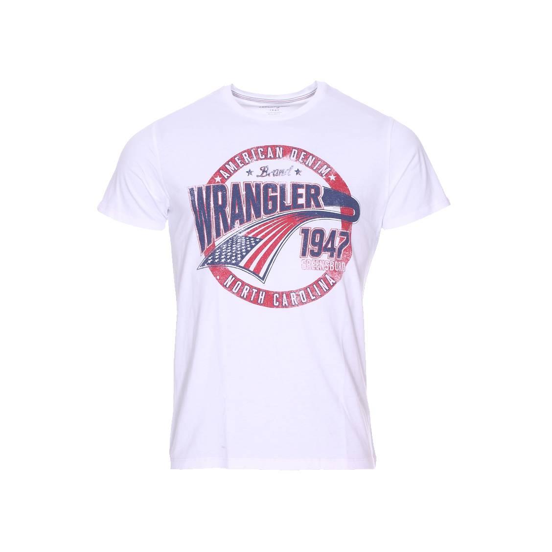 Tee-shirt col rond  americana blanc à imprimé patiné