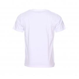 Tee-shirt col rond T-Fine Chevigon en coton blanc à imprimé bleu marine