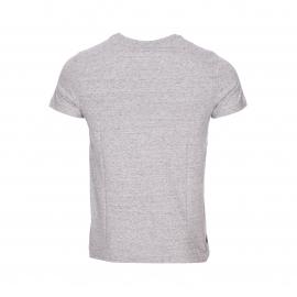 Tee-shirt col rond Tommy Hilfiger en coton gris chiné à imprimé rectangulaire bleu marine