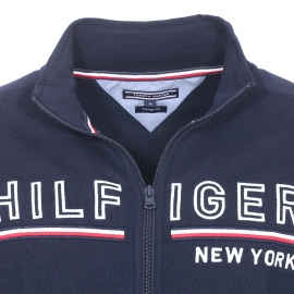 Sweat zippé Tommy Hilfiger bleu marine brodé Hilfiger New York