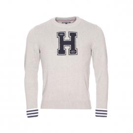 Pull col rond Carson Tommy Hilfiger en mailles tricotées gris clair
