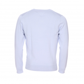 Pull col V Tommy Hilfiger en coton et polyamide bleu clair