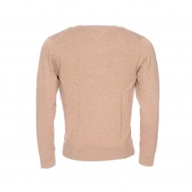 Pull col V Tommy Hilfiger en coton et polyamide beige