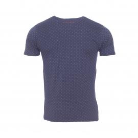 Tee-shirt col rond Trouper Teddy Smith en coton bleu marine à motifs pointillés blancs