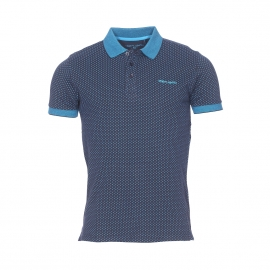 Polo Pepin Teddy Smith en maille piquée bleu marine à motifs bleu turquoise