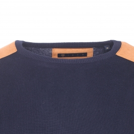 Pull Izac en coton et cachemire bleu marine à coudières apparentes