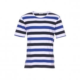 Tee-shirt col rond Tatipu Minimum en coton pima blanc à rayures bleu roi et bleu marine