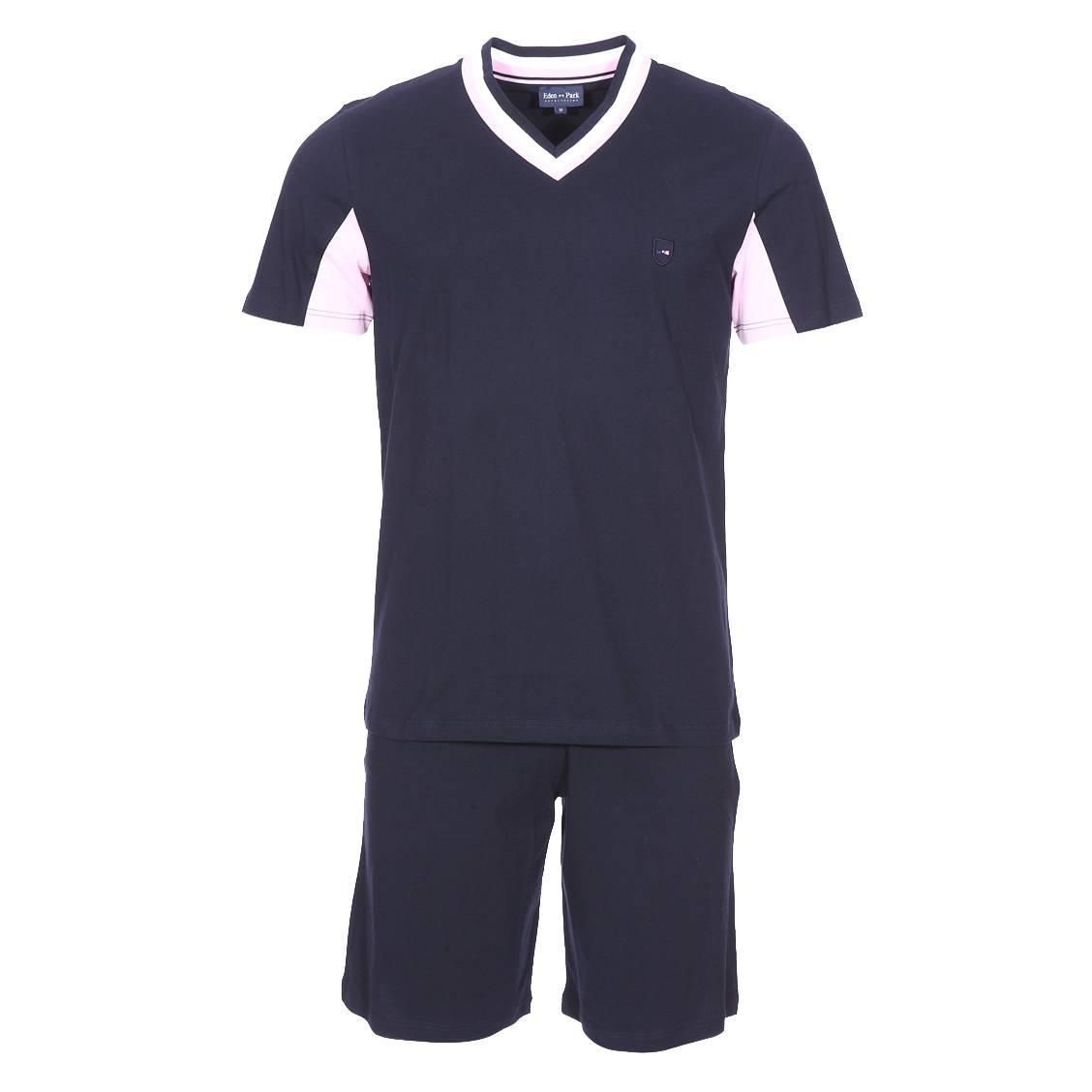 Pyjama court  en coton : tee-shirt manches courtes, col v bleu marine à rayures et bermuda bleu marine