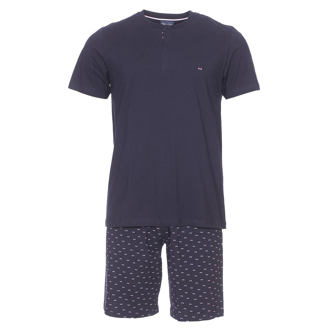 Pyjama court  en coton : tee-shirt manches courtes col tunisien bleu marine et bermuda bleu marine à petits n?uds rose pâle