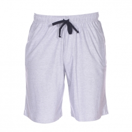 Pyjama court Eden Park en coton mélangé : tee-shirt manches courtes col tunisien et bermuda à fines rayures bleues et blanches