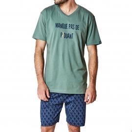 Pyjama court Arthur Cactus : tee-shirt col V kaki et bermuda bleu marine à imprimés cactus