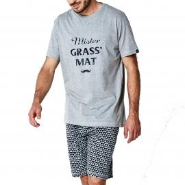 Pyjama court Arthur Mister Grass'Mat : tee-shirt col rond gris et bermuda gris à motifs triangles bleu marine