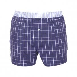 Caleçon club Arthur bleu marine à carreaux blancs, ceinture à rayures bleu jean et blanches