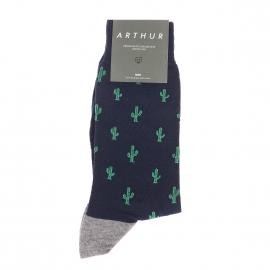 Chaussettes Arthur en coton bleu marine à imprimés cactus verts fabriquées en France