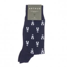 Chaussettes Arthur en coton bleu marine à imprimés homards blancs fabriquées en France