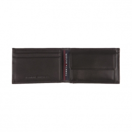 Mini portefeuille italien Tommy Hilfiger Harry en cuir noir
