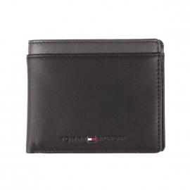 Portefeuille italien Tommy Hilfiger Color Block en cuir noir et empiècement gris