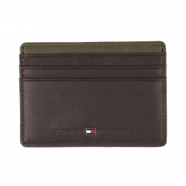 Porte-cartes Tommy Hilfiger Color Block en cuir marron et empiècement kaki