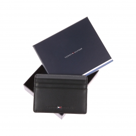 Porte-cartes Tommy Hilfiger Color Block en cuir noir et empiècement gris