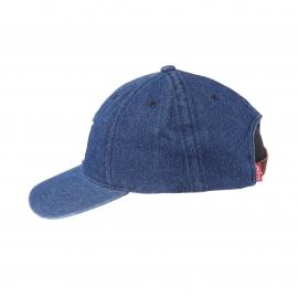 Casquette Levi's en jean bleu brodée 501 en blanc