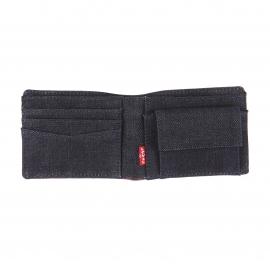 Portefeuille italien Levi's en cuir marron à intérieur en jean et porte-monnaie intégré