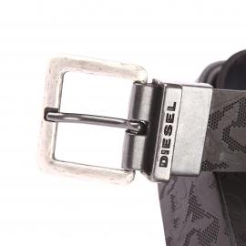 Ceinture Diesel en cuir noir texturé réversible en gris anthracite lisse à boucle rectangulaire argentée