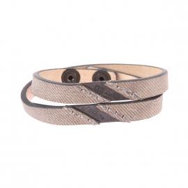 Bracelet double Diesel en cuir à motifs