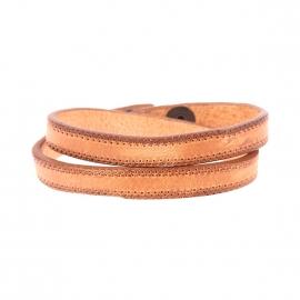 Bracelet double Diesel en cuir marron poinçonné