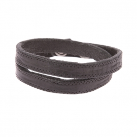 Bracelet double Diesel en cuir noir poinçonné