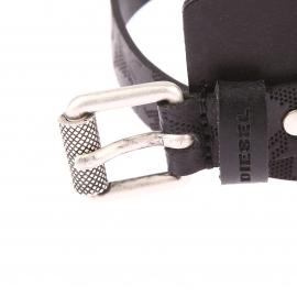 Large Bracelet Diesel en cuir noir lisse et texturé