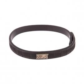 Bracelet double Replay en cuir noir à motif crocodile