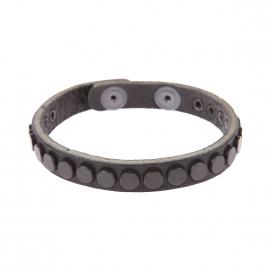 Bracelet Replay en cuir noir à ronds noirs métalliques