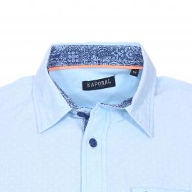 Chemise cintrée manches courtes Kaporal en coton bleu ciel à petits motifs blancs