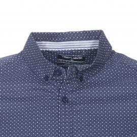 Chemise ajustée Teddy Smith en coton bleu marine à petits motifs losanges blancs et gris