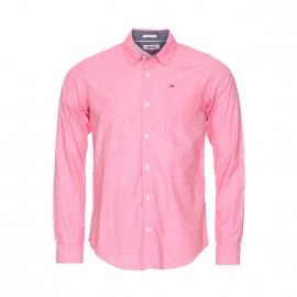 Chemise droite Hilfiger Denim en coton tissage fil à fil rouge