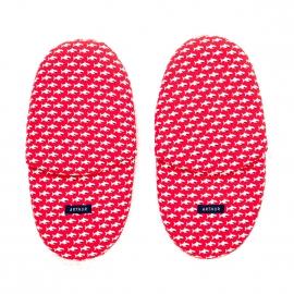 Chaussons Arthur en coton rouge à motifs requins
