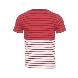 Tee-shirt col rond Armor Lux bicolore rouge chiné et gris chiné à rayures bordeaux