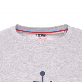 Tee-shirt col rond Armor Lux en coton gris chiné à imprimé