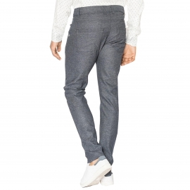 Pantalon Chino Freeman T.Porter Ohio Macity bleu foncé à chevrons
