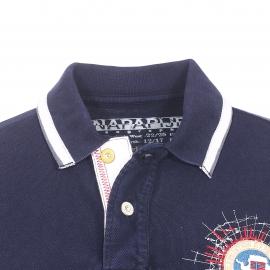 Polo Gandy Napapijri en coton maille piquée bleu marine brodé